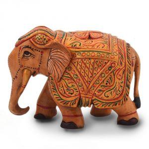 Vivan Creation Wooden Hand Carved Painted Elephant Handicraft 153