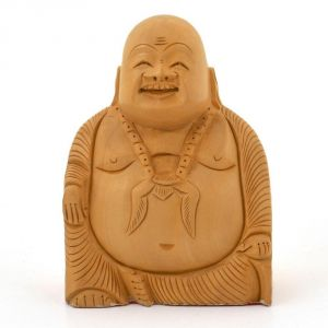 Vivan Creation Good Luck Laughing Buddha In Fine Carved Wood -194