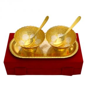 Vivan Creation Lotus Shape German Silver 2 Bowl And One Tray With 2 Spoon Set (product Code - Sm-hcf539)