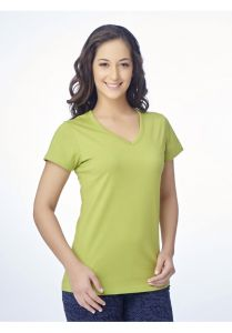 V Star Womens T Shirt Vlt 1451 Citron ( V-Neck Half Sleeve Womens Tee)