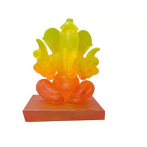 Spidy Moto Yellow & Red Crystal Dualsided Ganesh Ji Home Decor/car Dashboard Decorative - 7cm (crystal, Multicolor)
