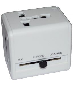 Panasonic,Maxx Mobile Phones, Tablets - Universal Travel Adaptor Surge Protector White with USB Slot