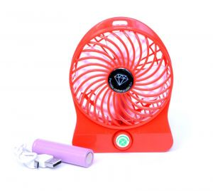 Mobile Accessory Combos - Ksj Rechargeable 4 Speed Mini Table Fan With Inbuild 2600 mAh Powerbank - Red (with Manufacturer Warranty)