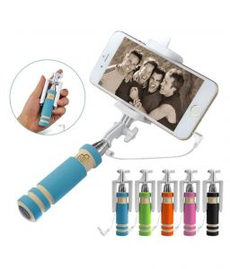 Ksj Original Buy 1 Get 1 Free Mini Foldable Selfie Stick With Aux Cable Selfie Stick (with Manufacturer Warranty)