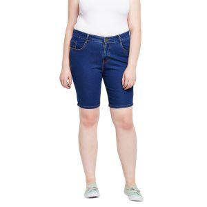 Zush Stretchable Regular Fit Medium Blue Cotton Blend Plus Size Denim Shorts For Women(Code-ZU1109)