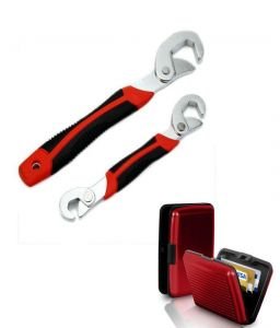 Snap N Grip Red Steel Multipurpose Wrench With Free Red Aluma Wallet