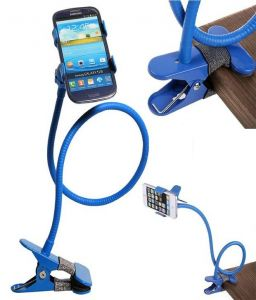 Flexible Long Lazy Metal Clamp Mobile Phone Holder For Smartphones Blue