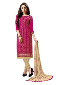 Radiant Cotton Embroidered Salwar Suit Dress Material With Chiffon Dupatta (Code-NKT1239)