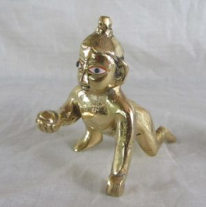 Idols & Decoratives - Attractive Lord Laddu Gopal / Ball Krishna / Thakur ji Brass Statue 2 Inch