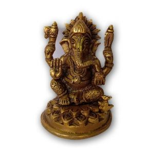 Beautiful Brass Ganesha Ganesh With Mushak Temple Murti