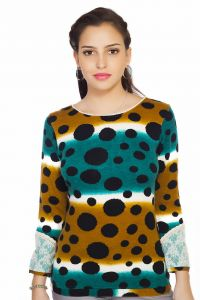 Soie R&Om Polka Dot Woollen Knit T-Shirt, Lace Detailing In Sleeves(Product Code)_5697Print_