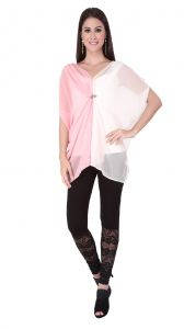 Soie Two Coloured Kaftan, A Brooch At The Front(Product Code)_5869(I)Pink+Offwhite_