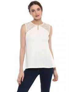 fc4874cd0b Buy Soie Women's Off White Shirt Collar Lace Crop Top Online | Best ...