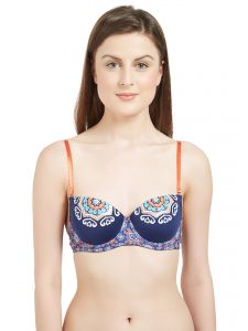 Soie Lingerie - Soie Women's Padded Wired Demi Cup Bra (Code - FB-528BLUE DEPTH)