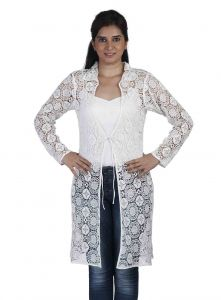 Soie Attractive Emboidered Fabric Jacket, Collar & Sring At The Waist(Product Code)_Jkt-03Off White_