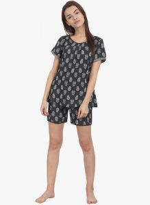 Soie Womens Printed Shorts-tee Set. - (code - Nt-53ethnic)