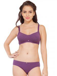 Soie Cotton Spandex Bra With Matching Panty (Code - SET 314+1314PURPLE MELANGE)