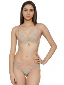 Soie Peach Contrast Pattern Sexy Push Up Bra And Panty Set (Code - SET 521+1521PEACH CREAM)