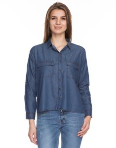 TARAMA Dark Blue Color Denim Fabric Long Sleeve Women's Shirt