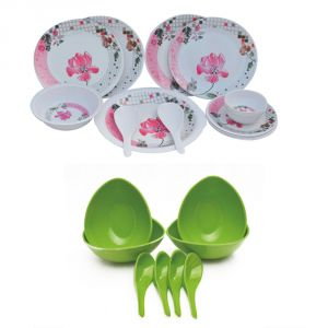 Czar Melamine 16 Pcs Dinner Set With 4 Soup Bowl Set -green