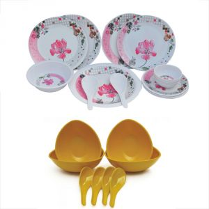 Czar Melamine 16 Pcs Dinner Set With 4 Soup Bowl Set -yellow