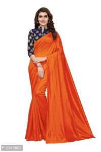 Mahadev Enterprises Orange Silk Saree With Jacquard Blouse Pics ( Code -bbc128a)