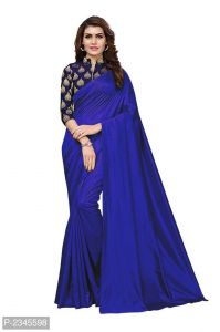 Mahadev Enterprises Blue Silk Saree With Jacquard Blouse Pics ( Code -bbc128d)