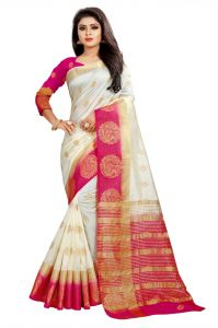 Mahadev Enterprises White And Pink Kanjiwaram Silk Saree With Running Blouse Pics ( Code -bbc129b)
