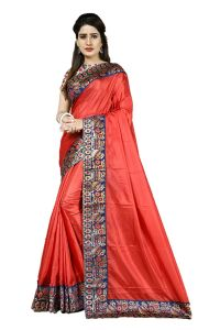 Mahadev Enterprise Red Heavy Paper Silk Saree With Jacquard Blouse Pics ( Code -bbc131c)