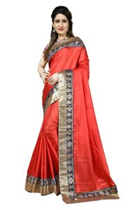 Mahadev Enterprise Red Heavy Paper Silk Saree With Jacquard Blouse Pics ( Code -bbc133c)