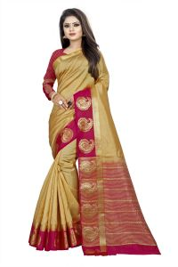 Mahadev Enterprise Chiku And Pink Kanjiwaram Silk Saree With Running Blouse Pics ( Code -bbc138b)