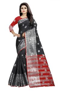 Cotton Sarees - Mahadev Enterprise Black And Red Cotton Silk Silver Jacquard Saree With Running Blouse Pic(code-BBC145F)