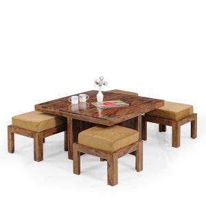 Inhouz Sheesham Wood Square Coffee Table Set (Teak Finish)