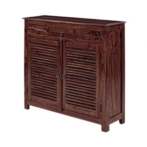 Inhouz Sheesham Wood Debour Shoe Rack (mahogany Finish)