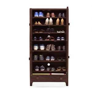 Inhouz Sheesham Wood Genusher Shoe Rack (mahogany Finish)