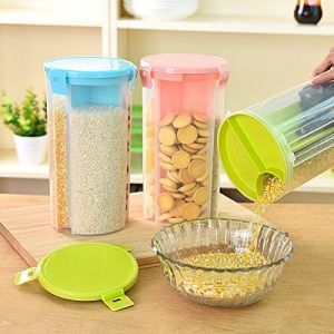 Container Bin With Lid For Kitchen Food Rice Pasta Nuts Grains 1500Ml 3 Sections