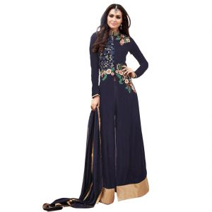 5ec0ecf1fa BOLLYWOOD REPLICA PARTY WEAR GRACEFUL BLUE GEORGETTE AND NET PARTYWEAR ANARKALI  SUIT 125F4F03DM