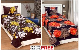 Home Castle Single Bedsheet With Pillow Cover ( Buy 1 Get 1 Free Offer )