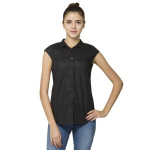 B Kind Women's  Black Linen Solid Shirt 1225