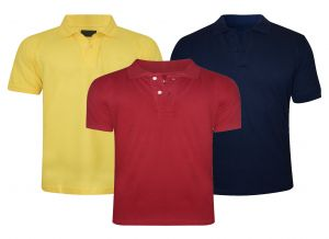 T Shirts (Men's) - Tangy Pack Of 3 Mens yellow&red&blue Polo T-Shirt-(code-2x3)