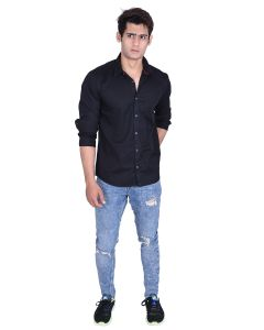Roller Fashions Black Colour Solid Full Sleeves Slim Fit Smart Casual Shirt