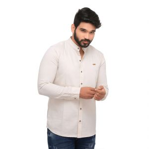82ef4c5c6 Cream Linen Luxury Slim Fit Men's Casuals Shirt From RollerFashions