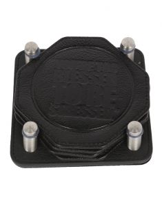 Jl Collections Black Leather Coaster Set