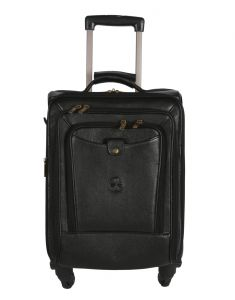 Jl Collections 22 Inches Leather Trolley Bag