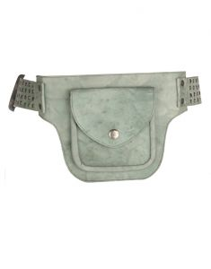 JL Collections Men's Green Leather Belt Pouch