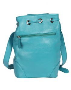 Jl Collections Women's Leather Sky Blue Backpack