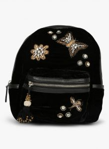 Jl Collections Velvet Black Butterfly Patch Design Embroidery & Stone Fancy Backpack For Girls