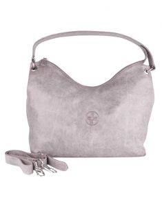 Jl Collections Women's Leather Grey Shoulder Bag