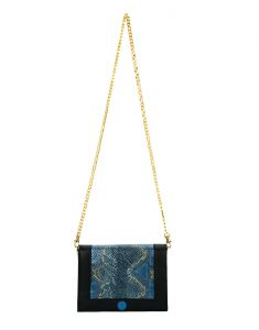Jl Collections Blue And Black Leather Sling Bag For Women (code - Jlfb_3468_bl)