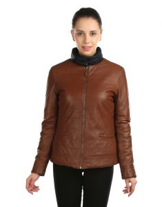 Jl Collections Full Sleeve Solid Brown And Black Womens Reversible Jacket